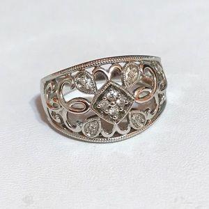 Jewelry - Nwot .22 Genuine diamond bypass 925 ring